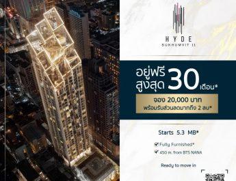 """คอนโดฯหรู """" HYDE Sukhumvit 11"""" ปล่อยโปร! เด็ดราคาดีๆ จองวันนี้อยู่ฟรี!! สูงสุด 30 เดือน พร้อมรับส่วนลดมากถึง 2 ล้านบาท"""